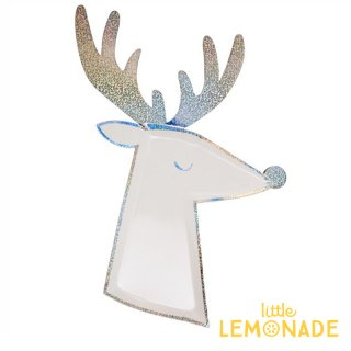 【Meri Meri メリメリ】 シルバーホログラム トナカイダイカットプレート 8枚入り Reindeer Plate ペーパープレート 紙皿 クリスマス(196341)