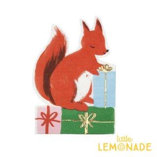 【Meri Meri クリスマス】ウッドランドスクヮーレル リスのペーパーナプキン 16枚入り 【Woodland Squirrel Napkin】(196494)