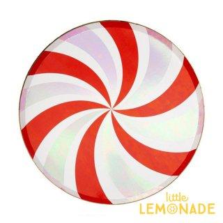【Meri Meri メリメリ】 ペパーミント スワール ペーパープレート 8枚入り 紙皿 Peppermint Swirl Dinner Plate キャンディ 赤 クリスマス(196485)
