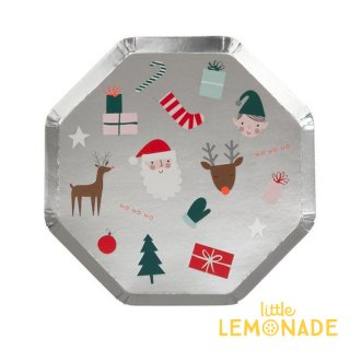 【Meri Meri メリメリ】 サンタ トナカイ クリスマスアイコン シルバープレート 紙皿 ペーパープレート 8枚入り Festive Icon  クリスマス(196602)