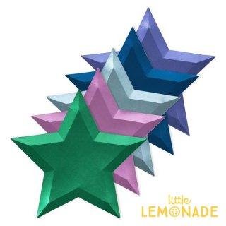 【Meri Meri メリメリ】 メタリックスター 4色アソート ペーパープレート 星型 ダイカット スター 紙皿 クリスマス (196449)