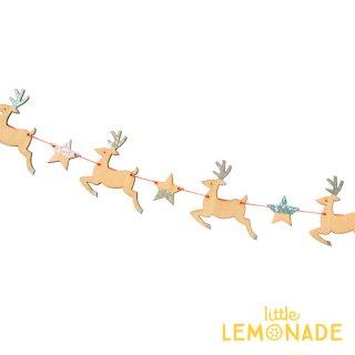 【Meri Meri】 木製 トナカイ&スターのガーランドシルバー グリッター Wooden Reindeer クリスマス(196737)