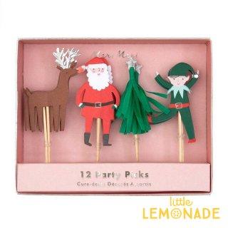 【Meri Meri クリスマス】 パーティーピック4種セット12本入り フードピック サンタクロース クリスマスツリ(198406)
