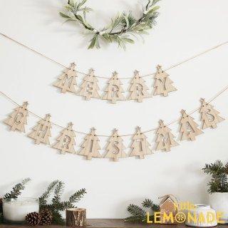 木製ツリー メリークリスマスガーランド- LET IT SNOW【Ginger Ray】クリスマス 飾り(LS-514)