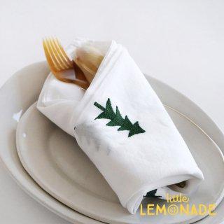 ツリー刺繍のテーブルナプキン 55x55センチ 綿 100% もみの木 刺繍 クリスマス ナプキン キッチンファブリック ティータオル (303629GN)