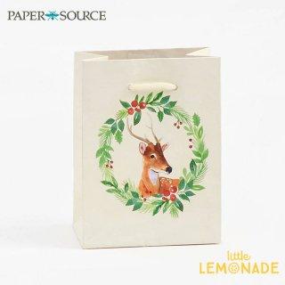 【Paper Source】 クリスマス ギフトバック スモールサイズ 【Reindeer Wreath】 X'mas Christmas 紙袋 ペーパーバッグ (3001053)