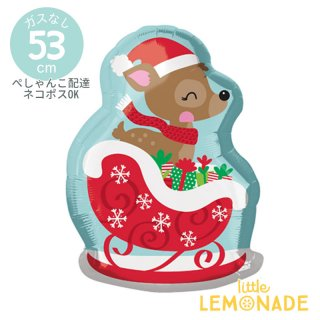 クリスマス風船 ソリに乗った鹿 【ぺしゃんこでお届け】 クリスマス ディアインスレイ ディスプレイ 装飾 メリークリスマス 風船(36010)