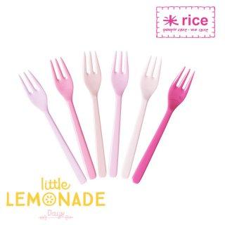 ケーキフォーク 6本セット/ ピンク×ピンク 【RICE】 メラミン カトラリー(MESFO-6IXC)