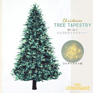 【メール便送料無料】クリスマスツリー タペストリー & LEDワイヤーライト ジュエリーライト【貼るクリスマスツリー】cps