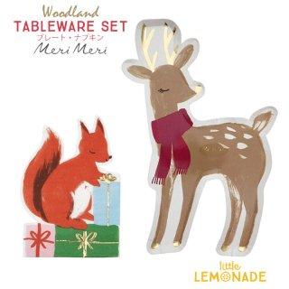 【送料無料】クリスマス テーブルウェア 2点セット メリメリ プレート・ナプキン 【ウッドランド Woodland】 cps (196494/196458)