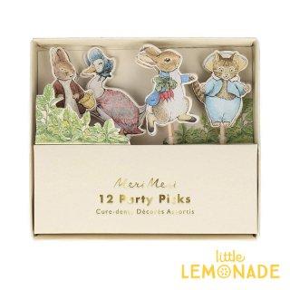 【Meri Meri】 ピーターラビット フードピック 12本セット Peter Rabbit & Friends Party Picks パーティーピック トッパー   メリメリ(203186)