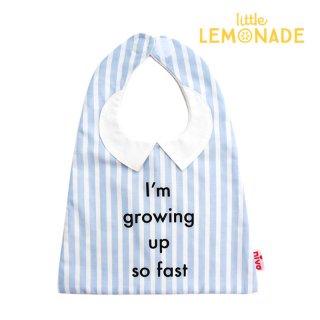 襟付きストライプシャツ風スタイ/ブルー Bold print bib  おしゃれスタイ よだれかけ ベビーエプロン 男の子 女の子 赤ちゃん 出産祝い お祝い ベビー(246BLU)