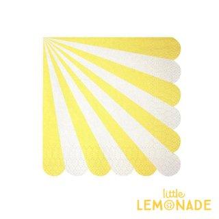 【Meri Meri】 イエロー ストライプ スモールサイズ ペーパーナプキン 20枚入り scallop 黄色 YELLOW (45-1317)