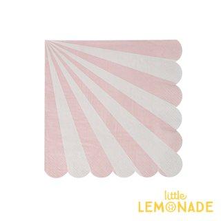 【Meri Meri】 ダスティーピンク ストライプ スモールサイズ ペーパーナプキン 20枚入り scallop ピンク DUSTY PINK (45-2119)