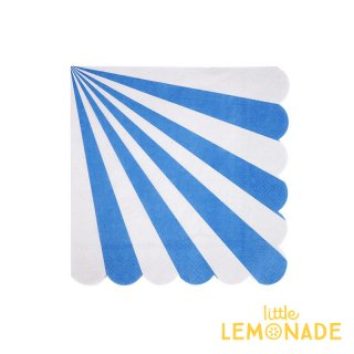 【Meri Meri】 ブルー ストライプ スモールサイズ ペーパーナプキン 20枚入り scallop 青 BLUE (45-2822)
