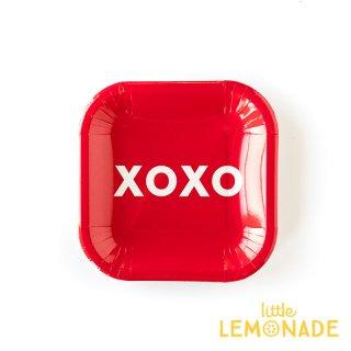 XOXO レッド スクエア ペーパープレート 12枚 【my mind's eye】ケーキプレート 紙皿  (VAL141 )