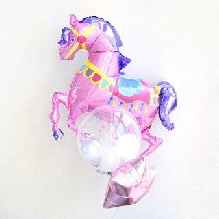 【送料無料】カルーセルホース バブルバルーンとスターのブーケ 誕生日 バルーン【浮かせてお届け】
