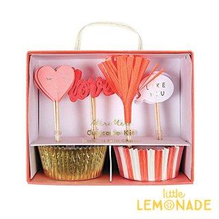 【Meri Meri】 ハート & LOVE カップケーキキット バレンタイン VALENTINES DAY ピックとベーキングカップのセット (45-3118)