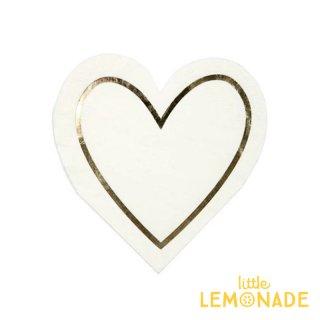 【Meri Meri メリメリ】 ハート型のペーパーナプキン ホワイトxゴールド 紙ナプキン 16枚入り(45-3263)