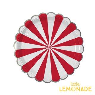 【Meri Meri】 レッド ストライプ スモール ペーパープレート 8枚入り scallop 紙皿 (45-1406)