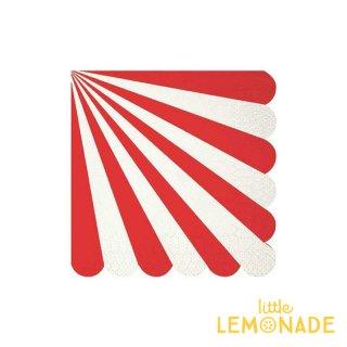 【Meri Meri】レッド ストライプ スモールサイズ ペーパーナプキン 20枚入り scallop 赤 RED クリスマス (45-1402)