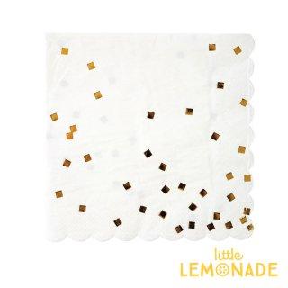 【Meri Meri】ゴールド コンフェッティ柄 ペーパーナプキン ホワイトxゴールド 紙ナプキン 16枚入り クリスマス  (45-2502)