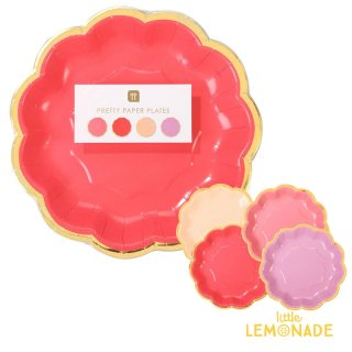 【Talking Tables】ROSE プレートセット 4色アソート 12枚入り Rose Plates(ROSE-PLATE-S)  TT_rose_ss