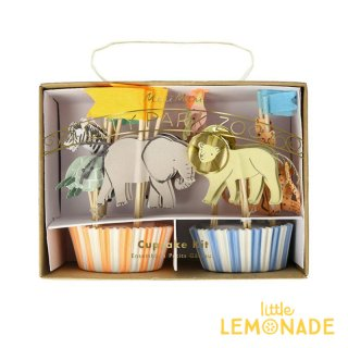 【Meri Meri】 サファリアニマルカップケーキキット 誕生日 お祝い テーブルコーディネート 製菓 マフィン(202155)