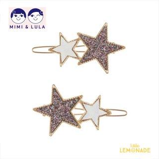 【Mimi&Lula ミミアンドルーラ】 TWIN STARS GRIP PACK / グリッター&ホワイト スターヘアクリップ2個セット ヘアアクセサリー 女の子(ML50208608)