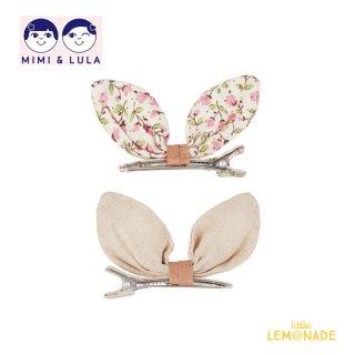 【Mimi&Lula ミミアンドルーラ】 FLORAL KIKO BUNNY CLIP / 花柄 サテンデザイン バニーヘアクリップ2個セット ヘアアクセサリー 女の子(ML50202223)