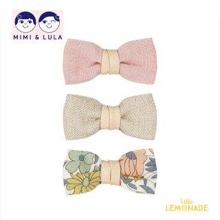 【Mimi&Lula ミミアンドルーラ】 FARMGIRL BOW CLIPS / ピンク ベージュ 花柄 リボンヘアクリップ3個セット ヘアアクセサリー 女の子(ML50201962)