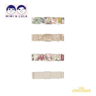 【Mimi&Lula ミミアンドルーラ】 OPHELIA BOW CLIP / 花柄 グリッター サテン リボンヘアクリップ4個セット ヘアアクセサリー 女の子(ML50204523)