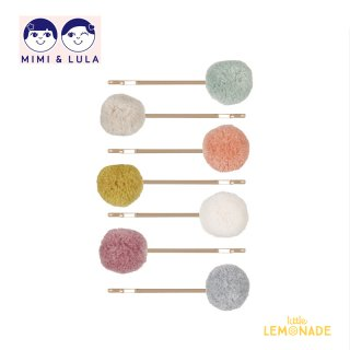 【Mimi&Lula ミミアンドルーラ】 POM POM GRIPS/ポンポン付きアメピン7個セット ヘアアクセサリー 女の子(ML50205762)
