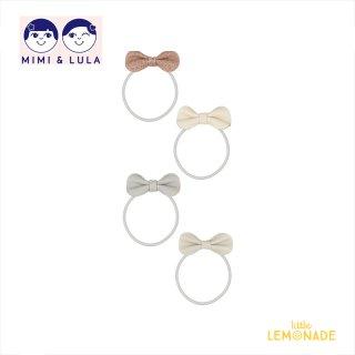 【Mimi&Lula ミミアンドルーラ】 GRACE BOW PONIES/グリッター×ヌードカラーリボンヘアゴム4個セット ヘアアクセサリー 女の子(ML50203022)