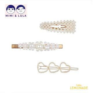 【Mimi&Lula ミミアンドルーラ】 PEARLY QUEEN CLIP PACK / パールデザインヘアクリップ3個セット ヘアアクセサリー 女の子(ML50204864)