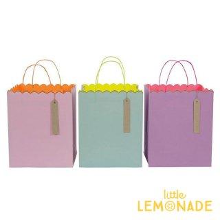 【Meri Meri】ラージサイズ パステル&ネオンカラー 3色 ギフトバッグ/3つセット Pastel & Neon【ペーパーバッグ トリートバッグ 紙袋 ラッピング】(44-0141)