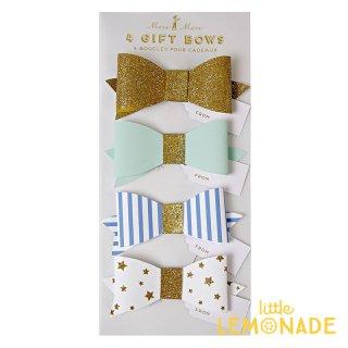【Meri Meri】ブルーギフトリボン 4個セット 【Wrapped Up Blue Bow】 青 ゴールド ボーダー スター プレゼント ギフト(45-1243)