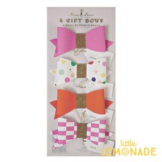 【Meri Meri】ピンクギフトリボン 4個セット 【Wrapped Up Pink Bow】 ピンク オレンジ ゴールド リボン ラッピング プレゼント ギフト(45-1244)