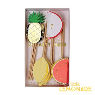 【Meri Meri メリメリ】フルーツパーティーピック Fruit Party Picks 24本 スイカ レモン リンゴ パイナップル ケーキピック リトルレモネード(141688)