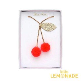 【Meri Meri メリメリ】チェリーポンポンネックレス Cherry Pompom Necklace さくらんぼ フルーツ ギフト プレゼント キッズ用 リトルレモネード (187216)