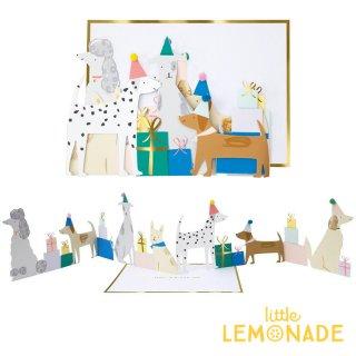 【MeriMeri メリメリ】ドッグパーティーカード Dog Party Concertina Card 犬 カラフル 飾れる 【カード 手紙 誕生日 メッセージ】リトルレモネード(192894)