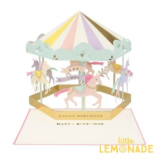 【MeriMeri メリメリ】メリーゴーランドのメッセージカード Carousel Stand-up Card カルーセル ホース 【カード 手紙 誕生日】リトルレモネード(201980)