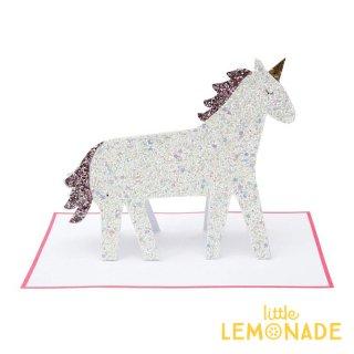 【MeriMeri メリメリ】グリッターユニコーンのメッセージカード Unicorn Glitter Card ユニコーン グリッター 【カード 誕生日】リトルレモネード(189196)