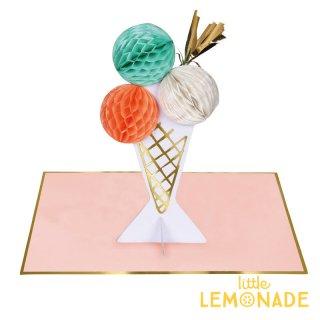 【MeriMeri メリメリ】アイスクリームのメッセージカード Ice Cream Honeycomb Card 【カード 手紙 誕生日】リトルレモネード(173161)
