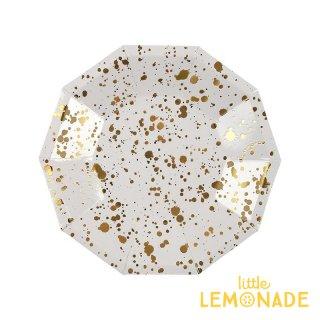 【Meri Meri】 ホワイトxゴールド スパタ しぶき柄 ペーパープレート スモールサイズ 8枚入り 紙皿 (45-3313)