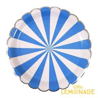 【Meri Meri】   ブルー ストライプ ラージ ペーパープレート 8枚入り BLUE scallop ストライプ(45-2820)