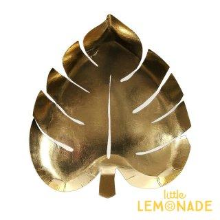 【Meri Meri】ゴールドフォイル ダイカット パームリーフ プレート 8枚入り 箔プリント 紙皿(173791)