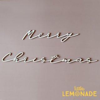 【Merry Christmas】 Wood Banner ウッドバナー 木製バナー スクリプト クリスマス 筆記体バナー Little Lemonade オリジナル LLS