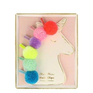 【Meri Meri】Pompom Unicorn Hair Clips カラフルポンポン ヘアクリップ 6個セット ヘアピン (202085)