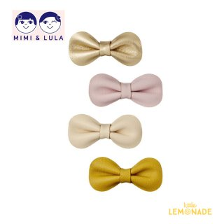 【Mimi&Lula ミミアンドルーラ】 GRACIE BOW CLIPS/リボンヘアクリップ4個セット(ゴールド・イエロー・ヌードカラー)(402051 58)
